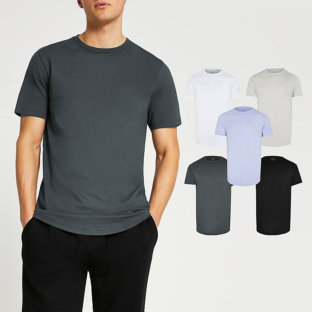Blue mix slim fit t-shirts 5 pack