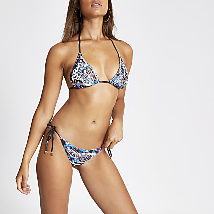 Blue mixed print tie side bikini bottom