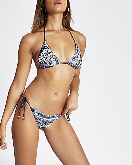 Blue mixed print tie side bikini bottom