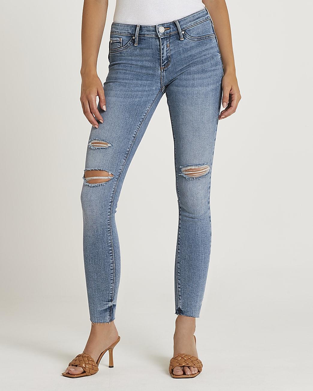 Blue Molly low rise bum sculpt skinny jeans