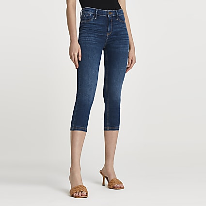 Blue Molly mid rise bum sculpt crop jeans
