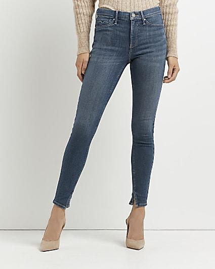Blue Molly mid rise bum sculpt jeans