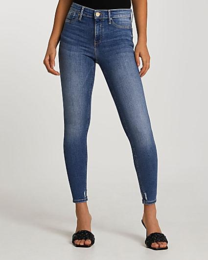 Blue Molly mid rise bum sculpt skinny jeans