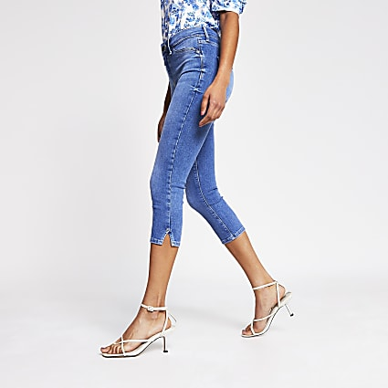 Blue Molly mid rise cropped jean