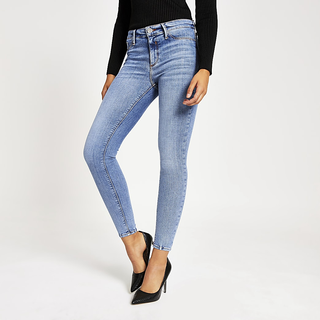Molly - Blauwe jegging met halfhoge taille