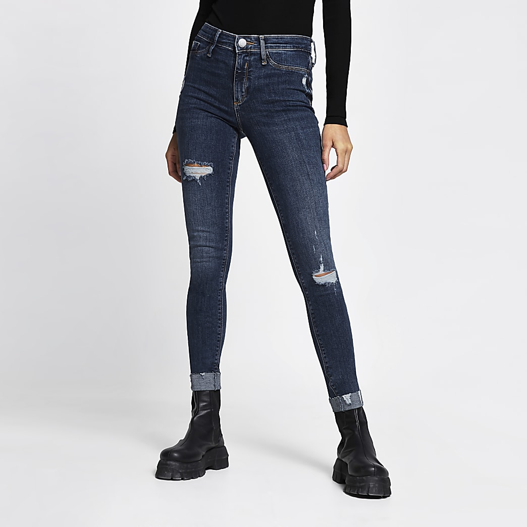 Blue Molly mid rise ripped turn up hem jeans