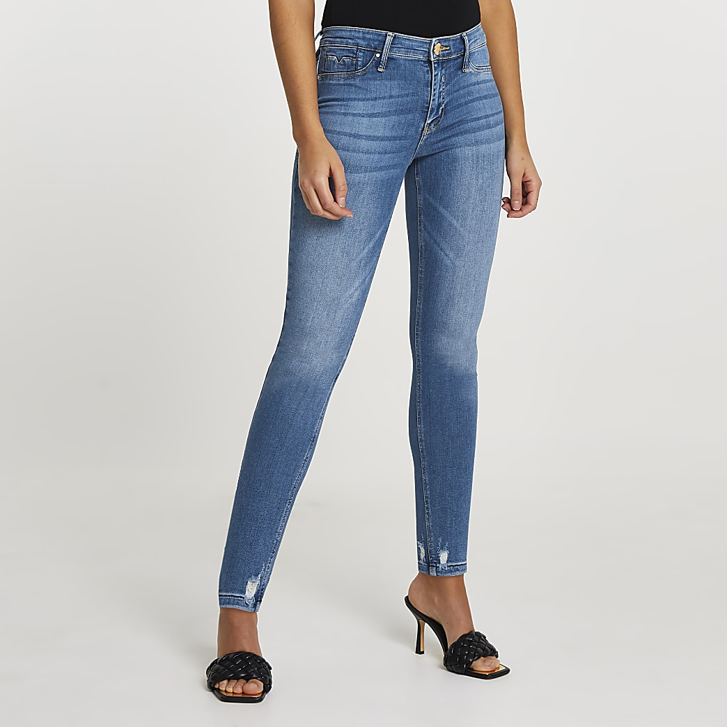 Blue Molly mid rise skinny bum sculpt jeans