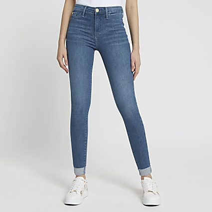 Blue Molly mid rise turn up hem jeggings