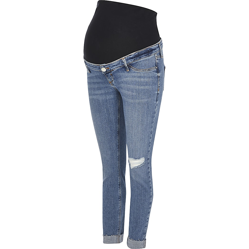 Blue Molly rip overbump maternity jeggings