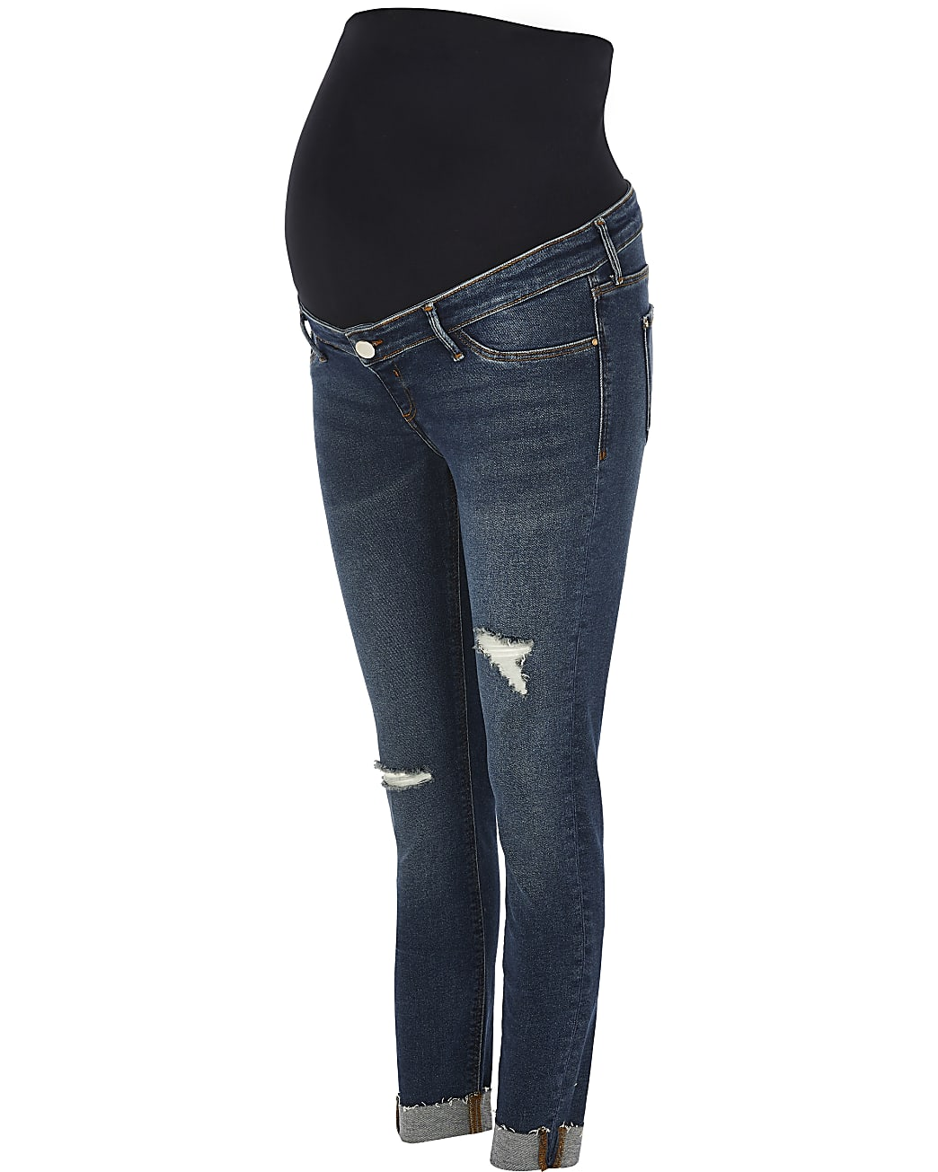 Blue Molly ripped maternity skinny jeans