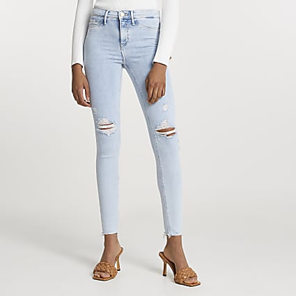 Blue Molly ripped mid rise jean