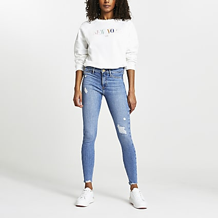 Blue Molly Ripped Mid Rise Skinny Jean