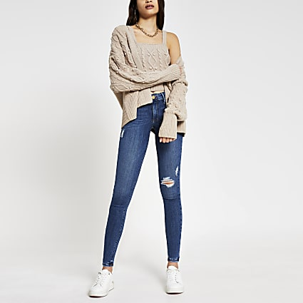 Blue Molly ripped mid rise skinny jeans