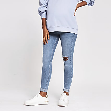 Blue Molly Ripped Skinny Maternity Jean