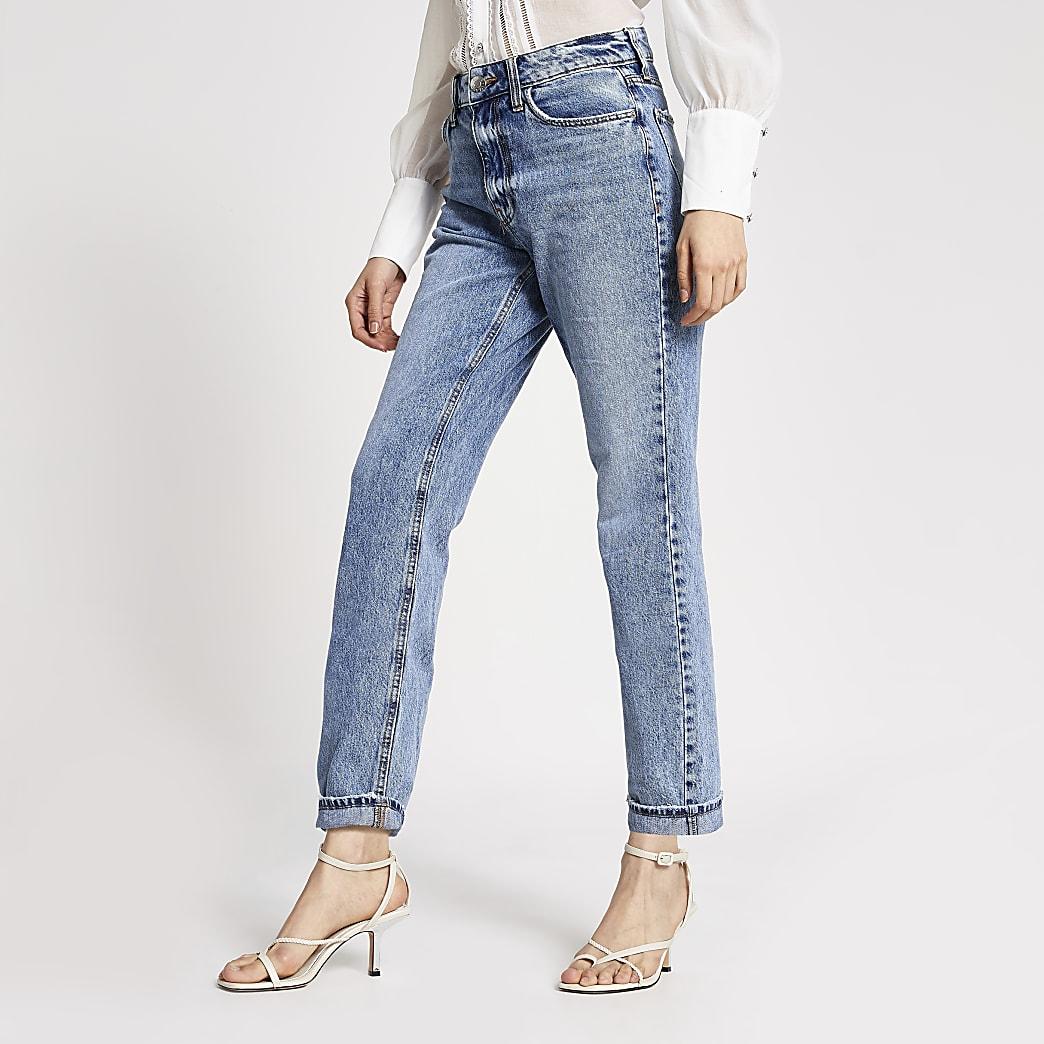 Mom - Blauwe jeans met hoge taille