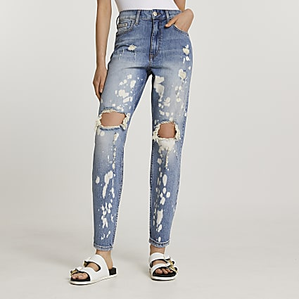 Blue mom high waisted paint ripped jeans