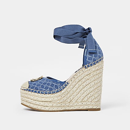 Blue monogram ankle tie wedges