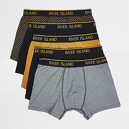 Blue monogram waistband trunks 5 pack