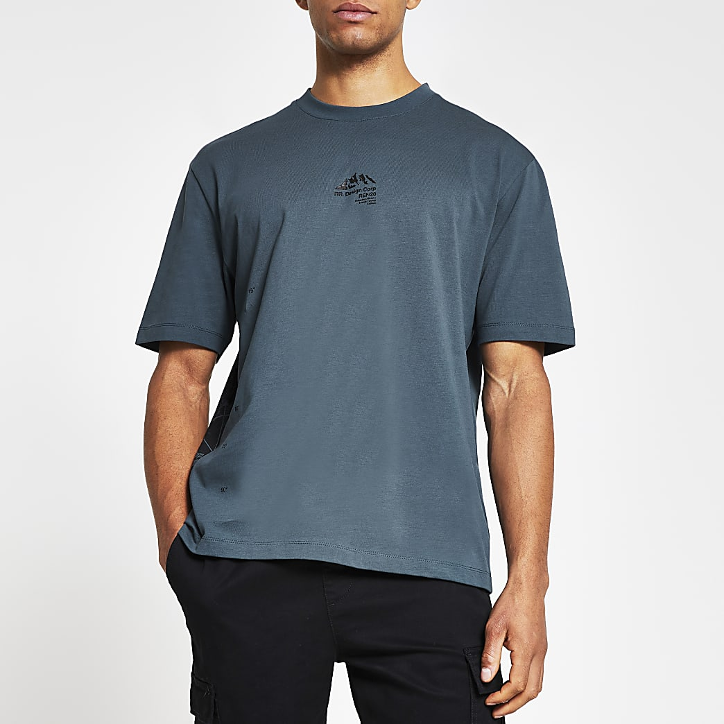 Blue mountain print oversized fit t-shirt