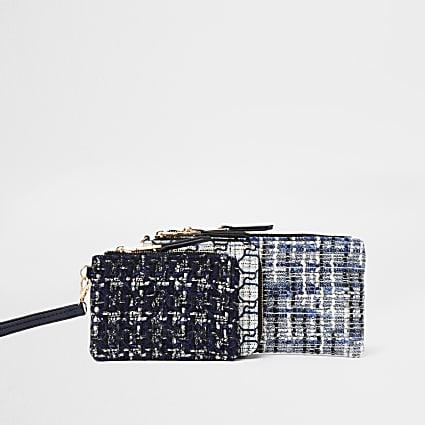 Blue multi mini pouches