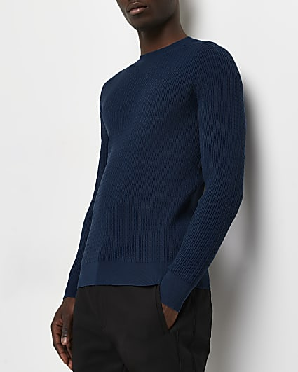 Blue muscle fit cable knitted jumper