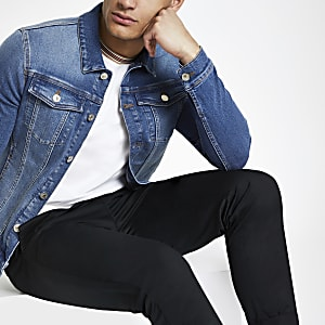 Blue muscle fit denim jacket
