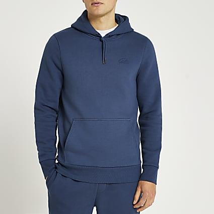 Blue muscle fit hoodie