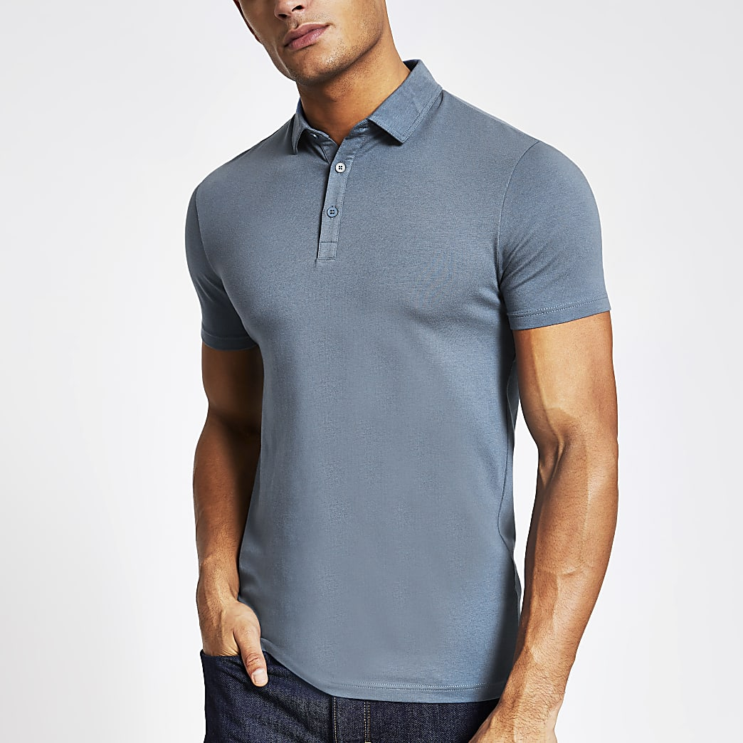 Blue muscle fit polo shirt