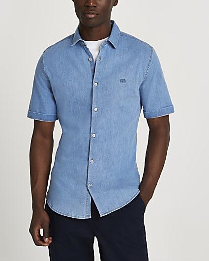 Blue muscle fit short sleeve denim shirt