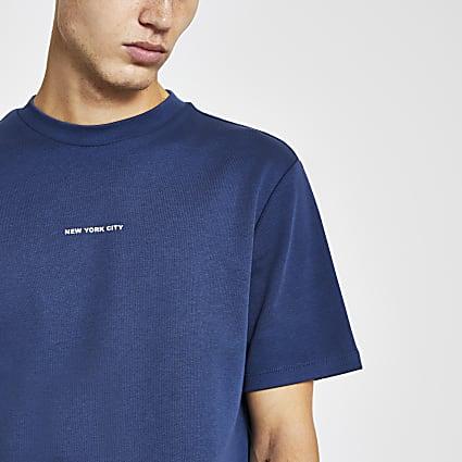Blue 'New York City' regular fit t-shirt