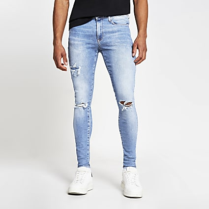 Blue Ollie super skinny spray on ripped jeans