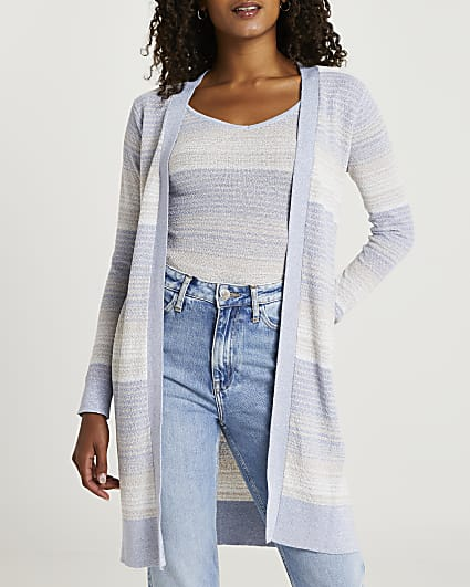 Blue ombre print cardigan