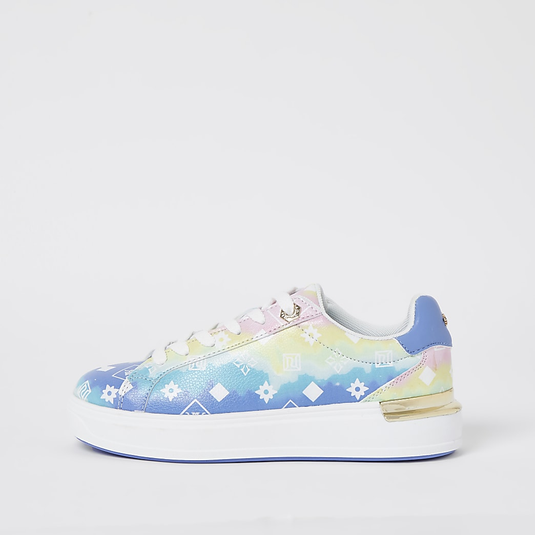 Blue ombre RI monogram lace up trainers