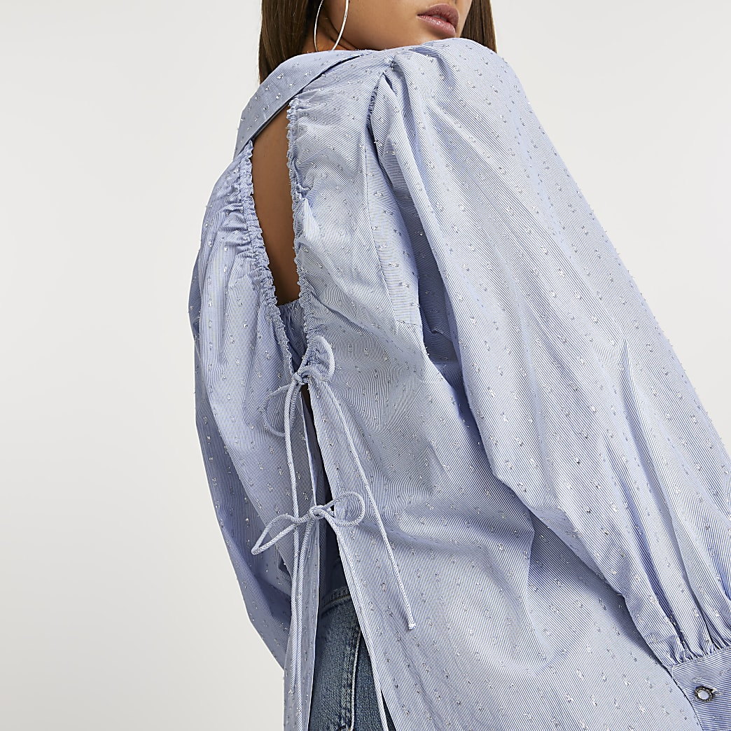 Blue open back shirt