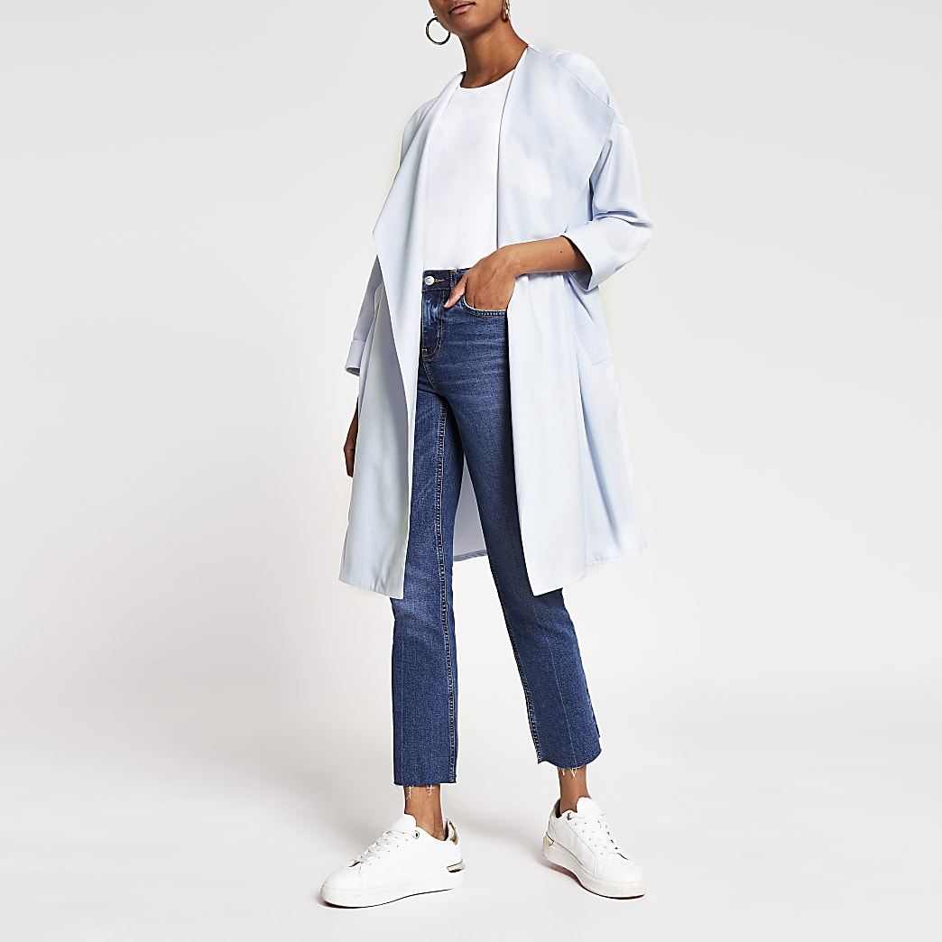 Blue open front duster jacket