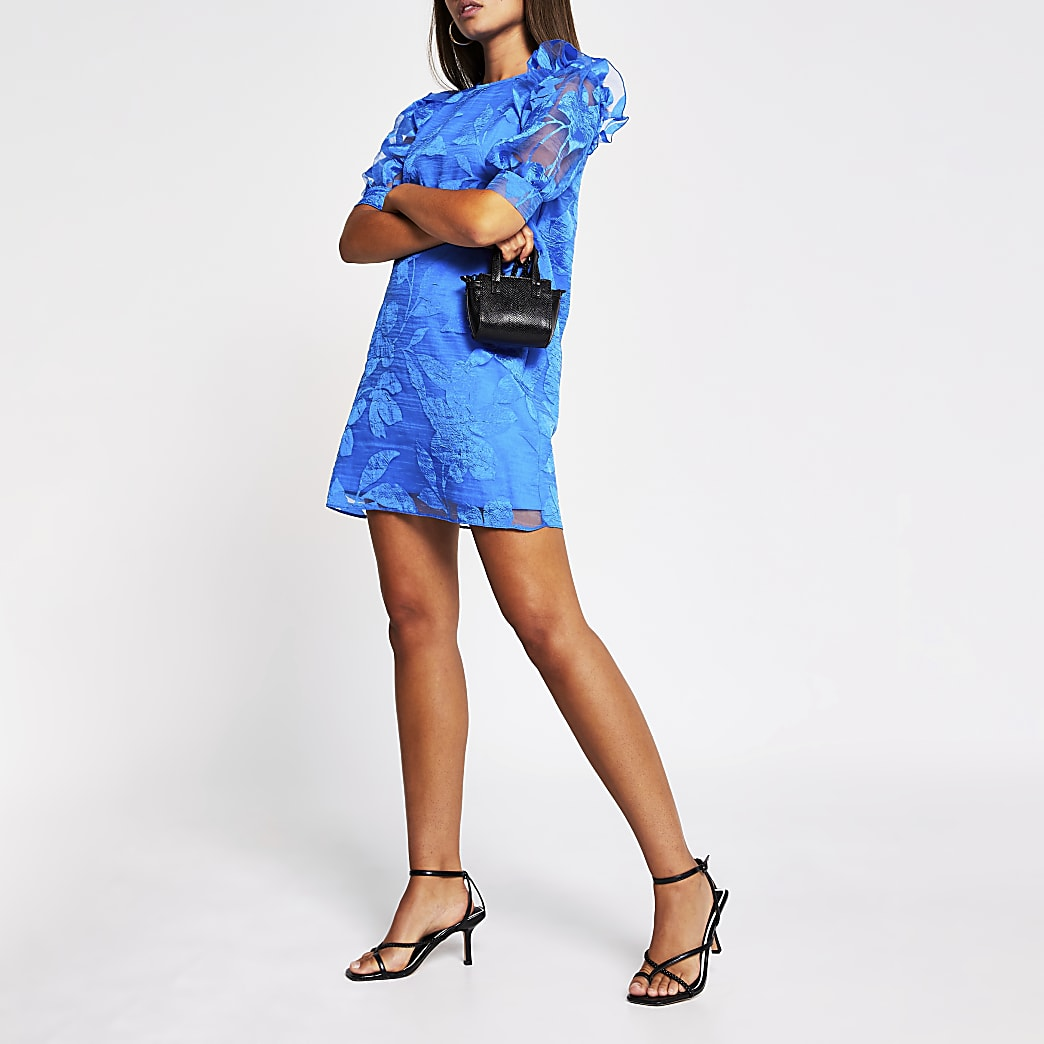 Blue organza puff sleeve mini dress