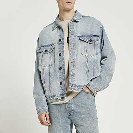 Blue oversized fit denim jacket