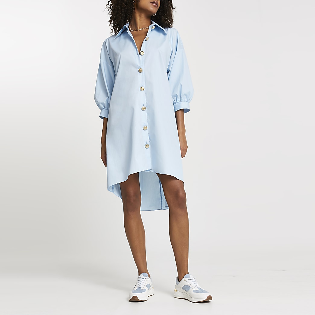 Blue oversized gold button shirt dress