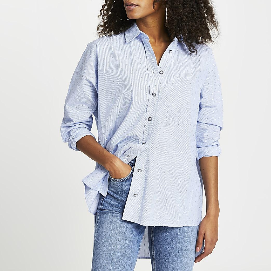 Blue oversized jewelled button shirt