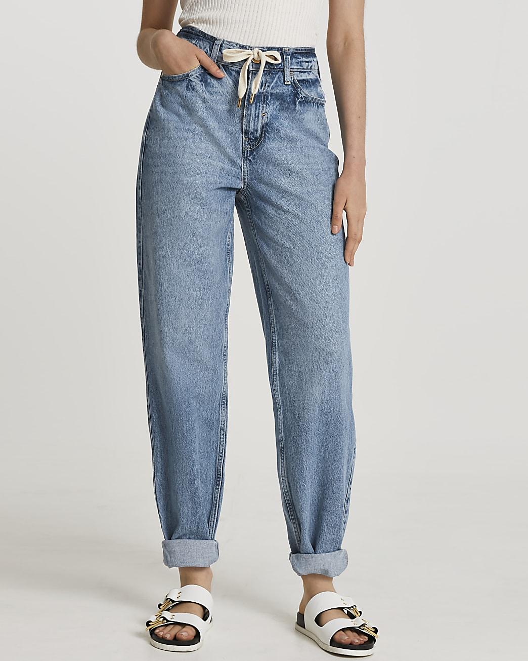 Blue oversized mom tie waist jeans