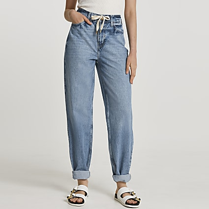 Blue oversized mom tie waist jeans