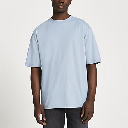 Blue oversized short sleeve t-shirt