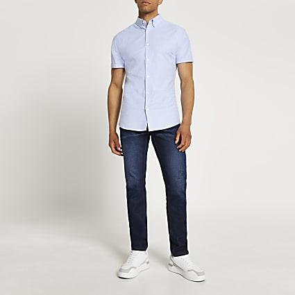 Blue Oxford slim fit short sleeve shirt