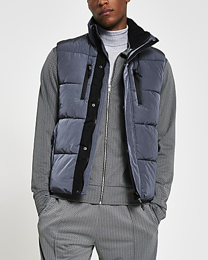 Blue padded double pocket puffer gilet