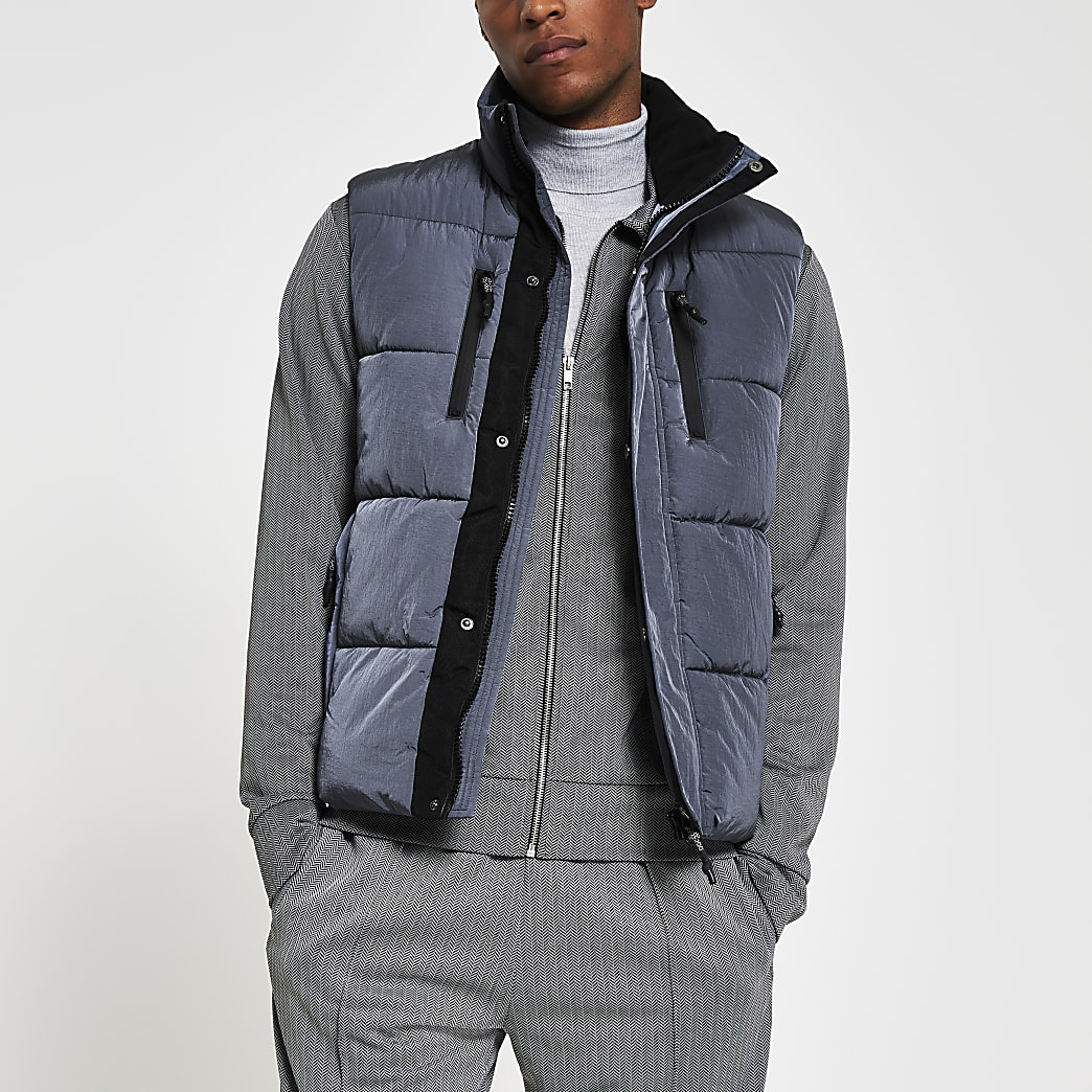 Blue padded double pocket puffer gilet
