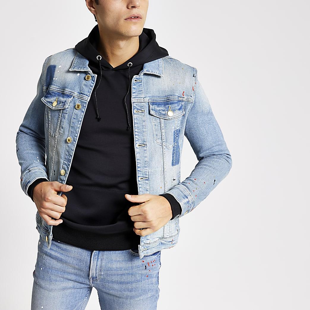 Blue paint splat muscle fit western jacket