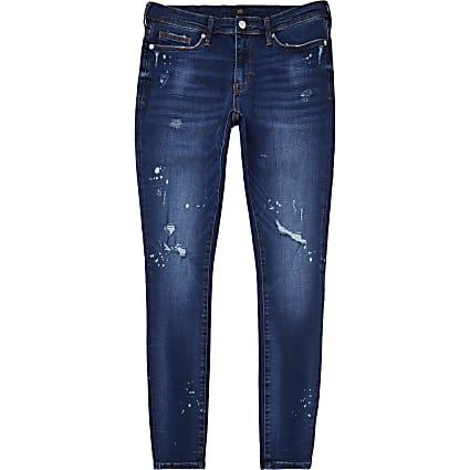 Blue paint splat spray on jeans