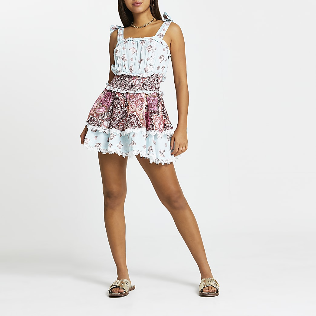 Blue paisley beach dress with shorts