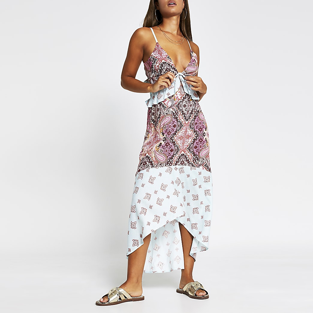 Blue paisley plunge beach dress cover up