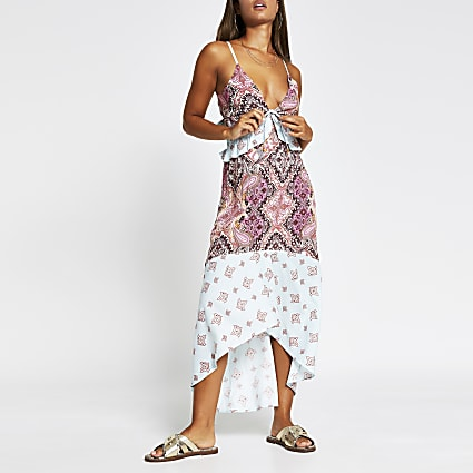 Blue paisley plunge beach dress